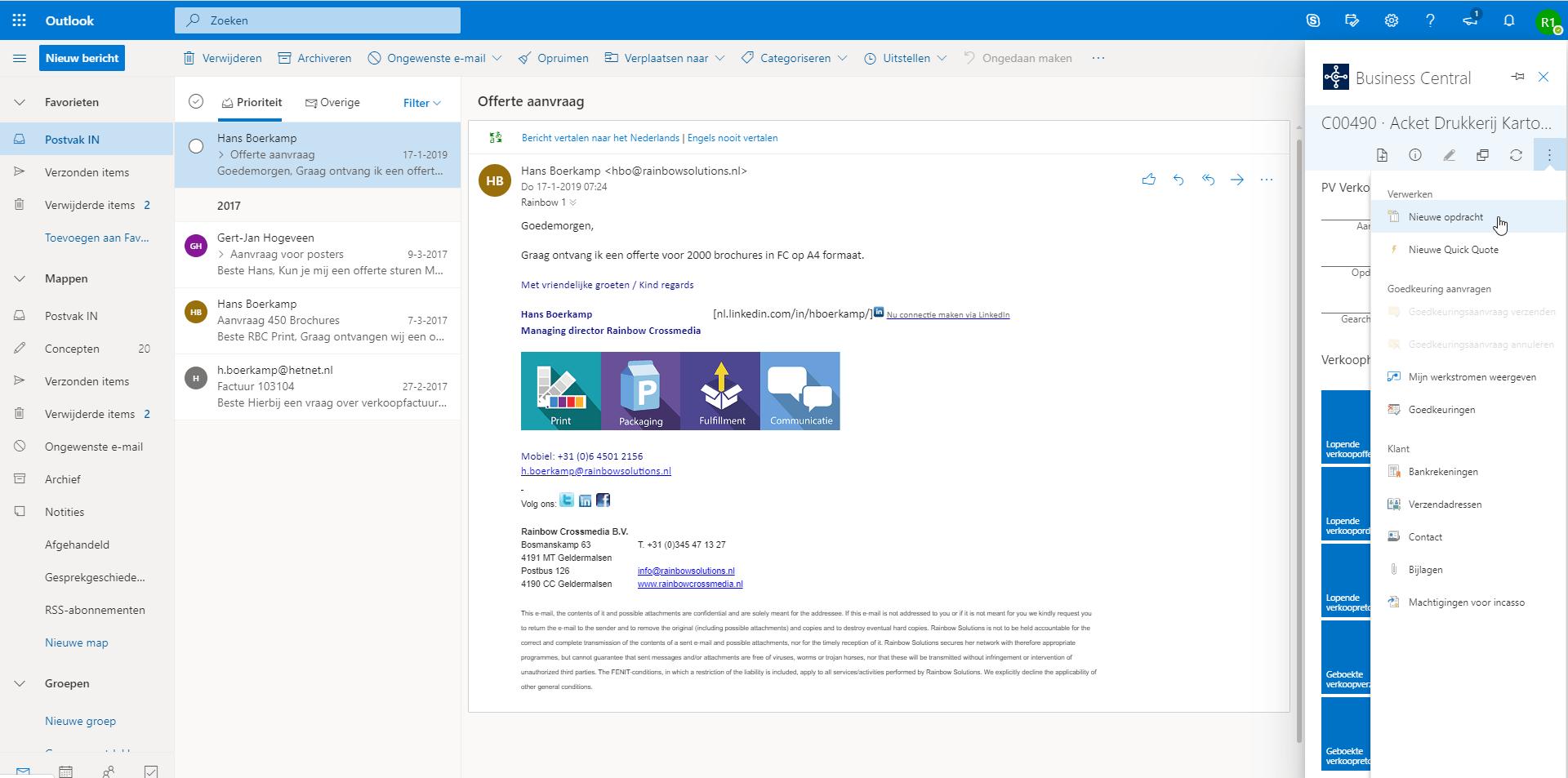 Outlook Business Inbox 2 - Microsoft Dynamics 365
