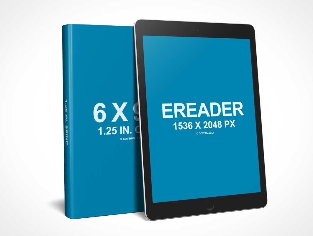 6 X 9 Book with eReader Promo PSD Mockup - eBook